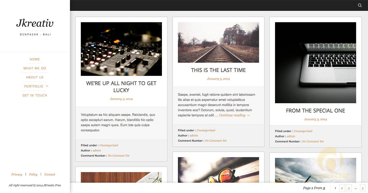 Jkreativ Lite — бесплатный респонсивный шаблон WordPress для творческих личностей