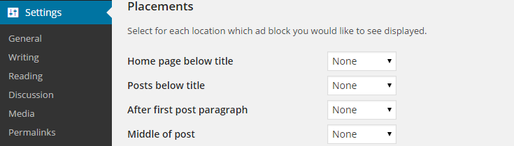 WP Advertise It Settings
