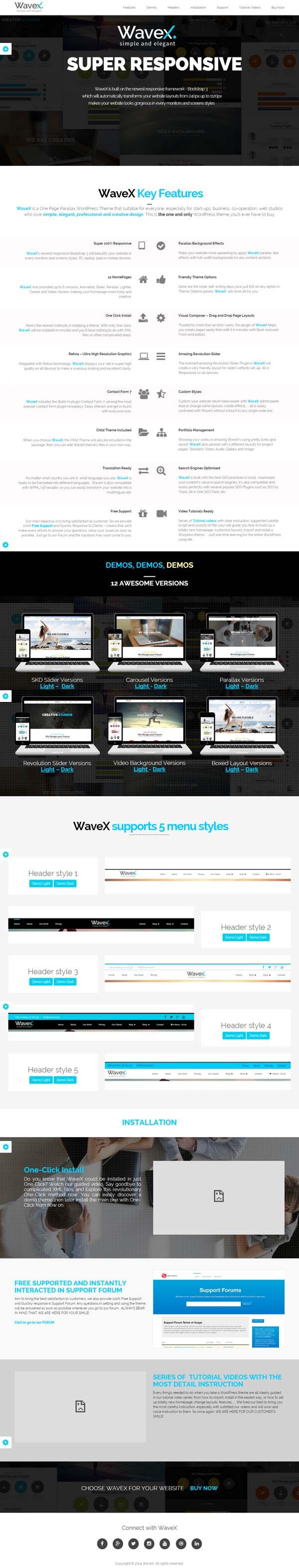 WaveX – One Page Parallax WordPress Theme