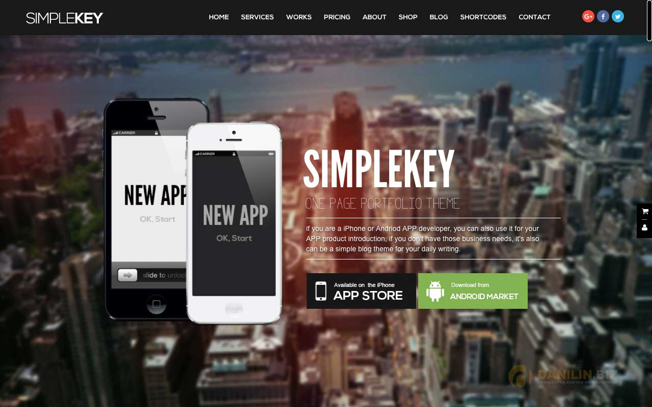 SimpleKey — One Page Portfolio WordPress Theme
