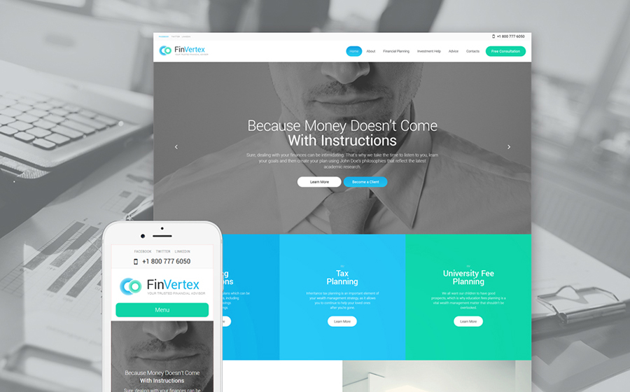 Financial Advisor Services WordPress Theme