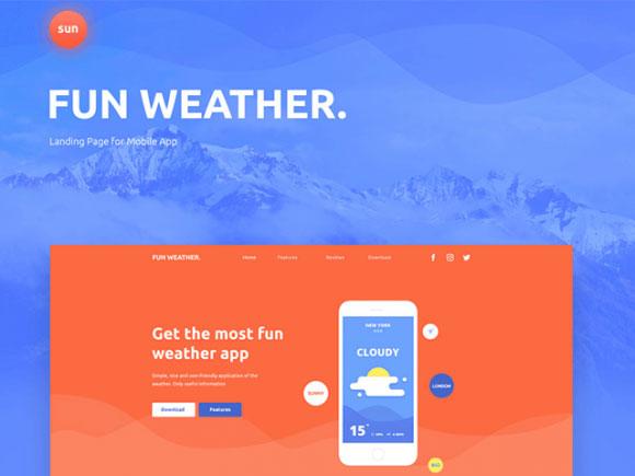 Fun Weather — шаблон лендинга для приложения