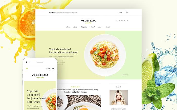 WordPress шаблон для блога о вегетарианском питании