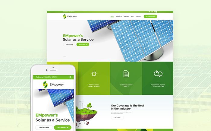 WordPress шаблон на тему «солнечная энергия»
