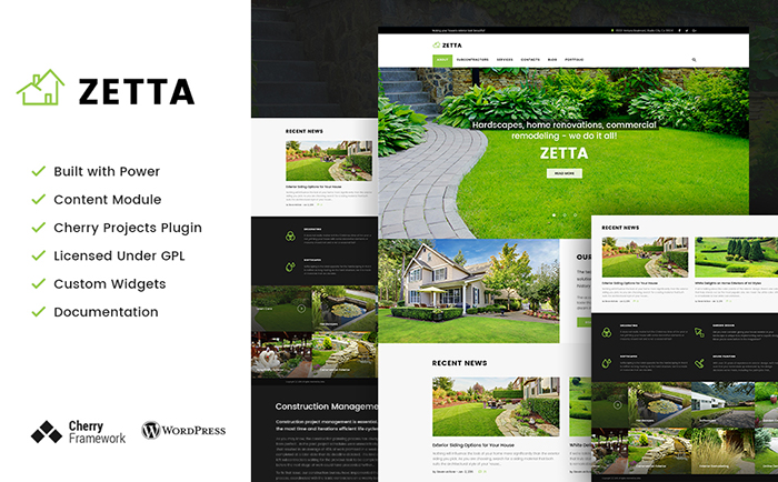 WordPress шаблон на тему ландшафтного дизайна