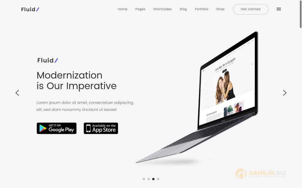 Fluid — тема для сайтов приложений, стартапов и диджитал-бизнеса