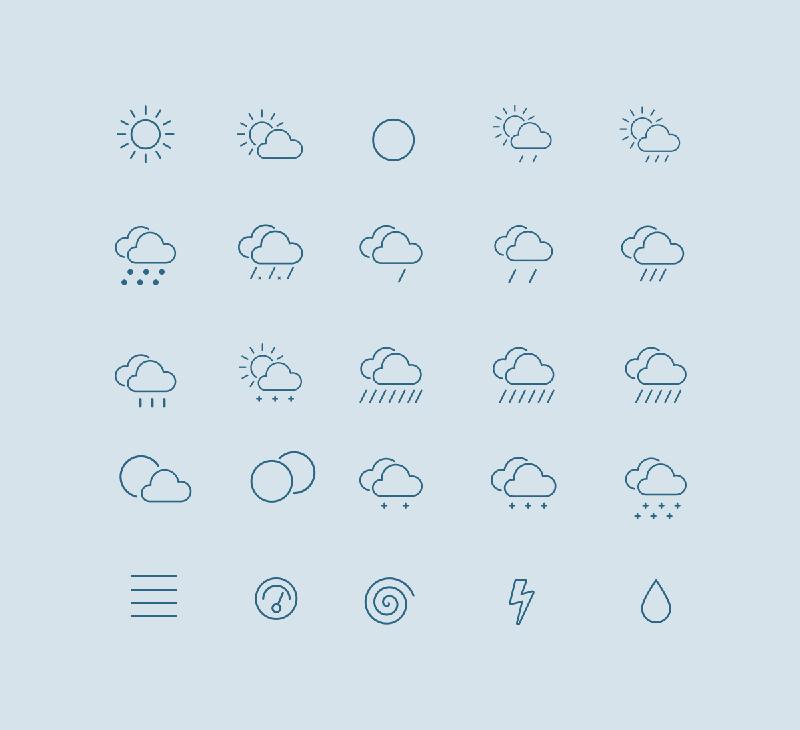 Контурные погодные иконки в формате EPS, PDF и SVG от Larysa