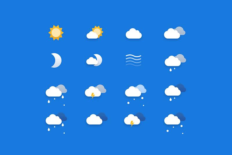 Бесплатные погодные иконки в формате PSD и Sketch от Netguru