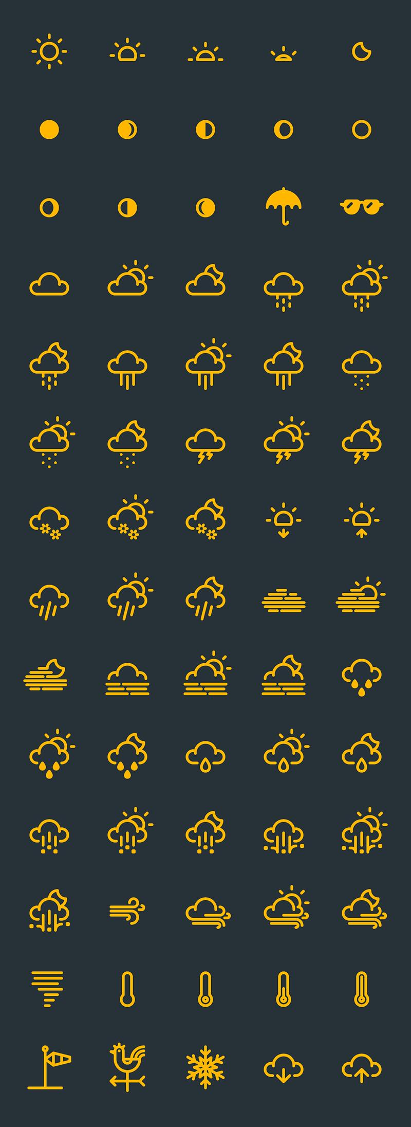 RNS — векторные погодные иконки в формате AI, PDF, SVG от Yorlmar Campos