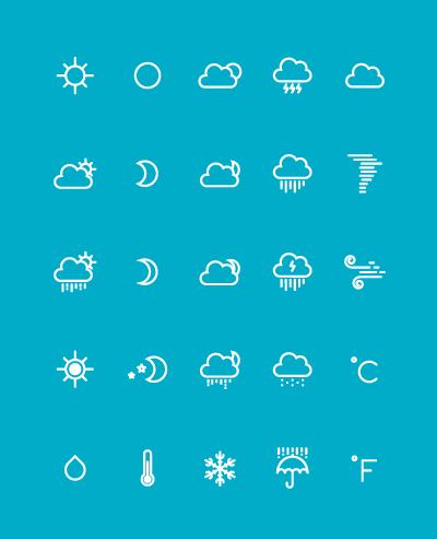 Бесплатные погодные иконки в AI и PSD от Yihsuan Lu