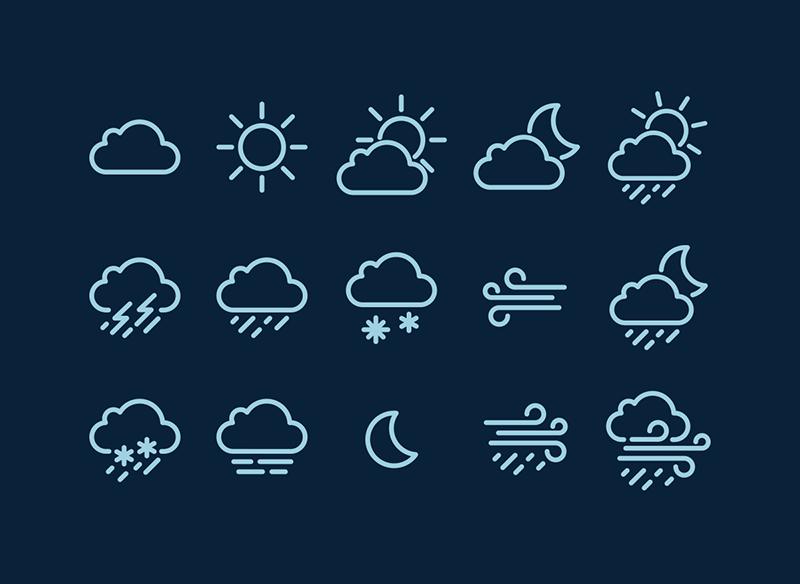 Векторные погодные иконки в формате AI и SVG от Piotr Grzeszczyk