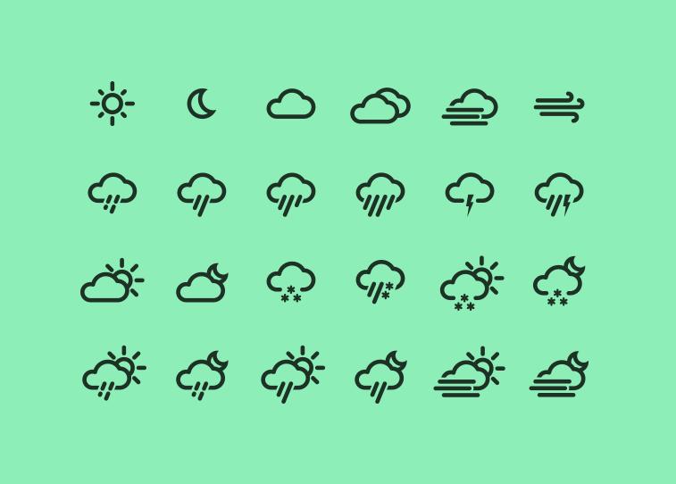 Векторные погодные иконки в AI от Jakob Treml