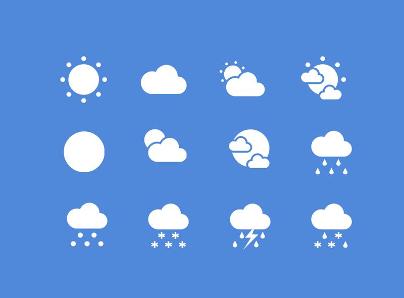 Набор погодных иконок в стиле плоского дизайна в формате PSD от Roy Soetantio