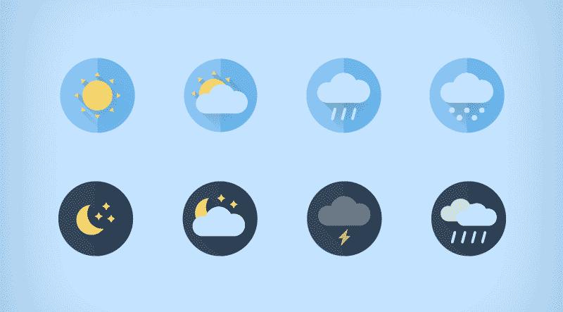 Бесплатные погодные иконки в плоском стиле в формате SVG и PNG от Daniele De Santis