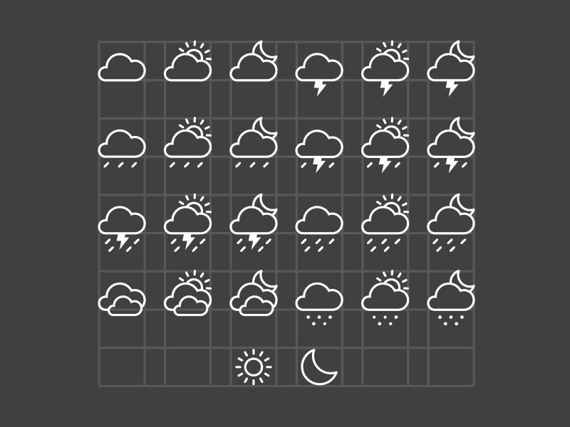 Бесплатные векторные погодные иконки в AI от Alex Pour