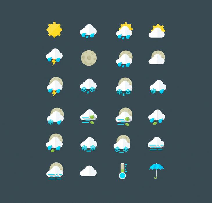 Бесплатные погодные иконки и символы в AI и PSD