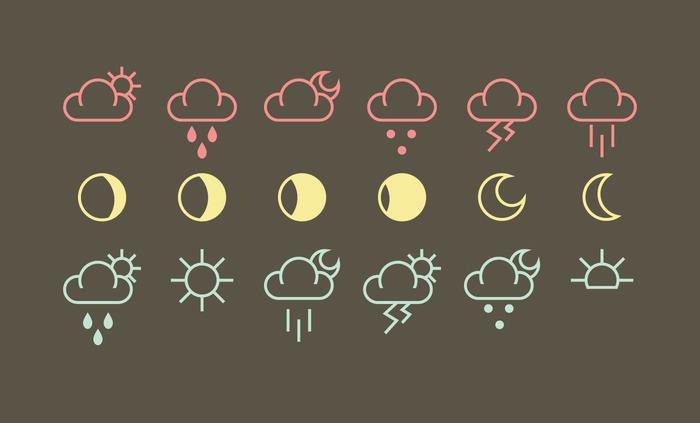 Погодные иконки в формате AI и EPS