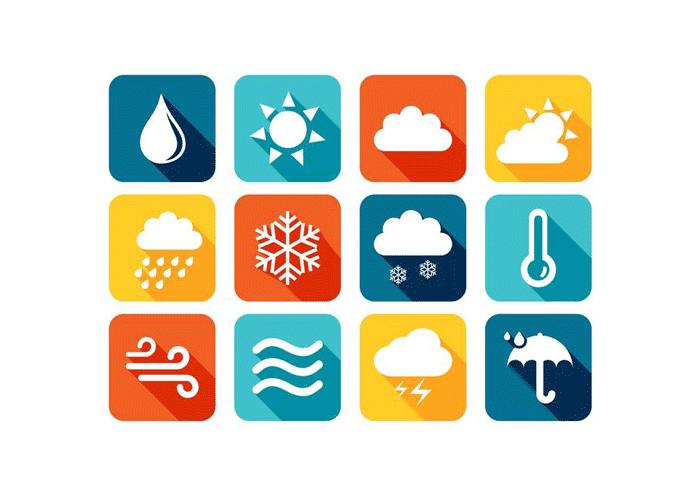 Цветные погодные иконки в AI и EPS