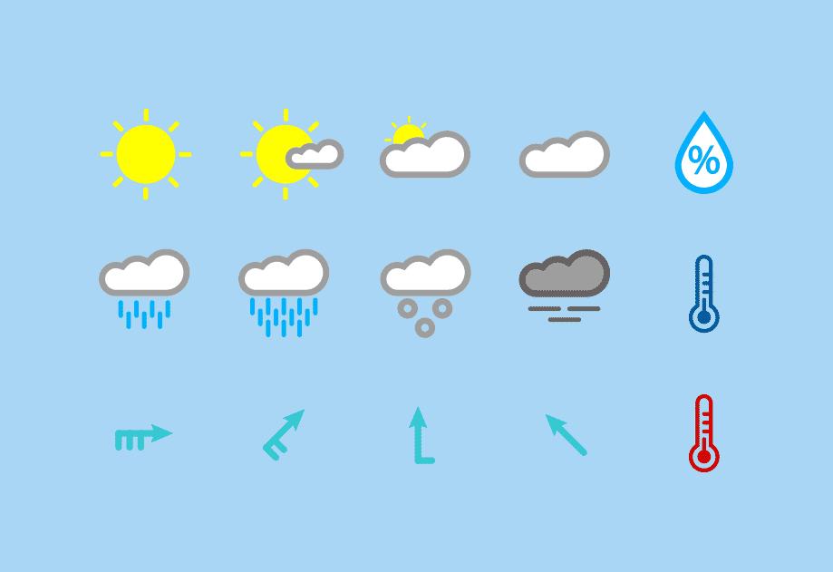 15 цветных погодных иконок в формате AI, SVG от Javier Lacambra
