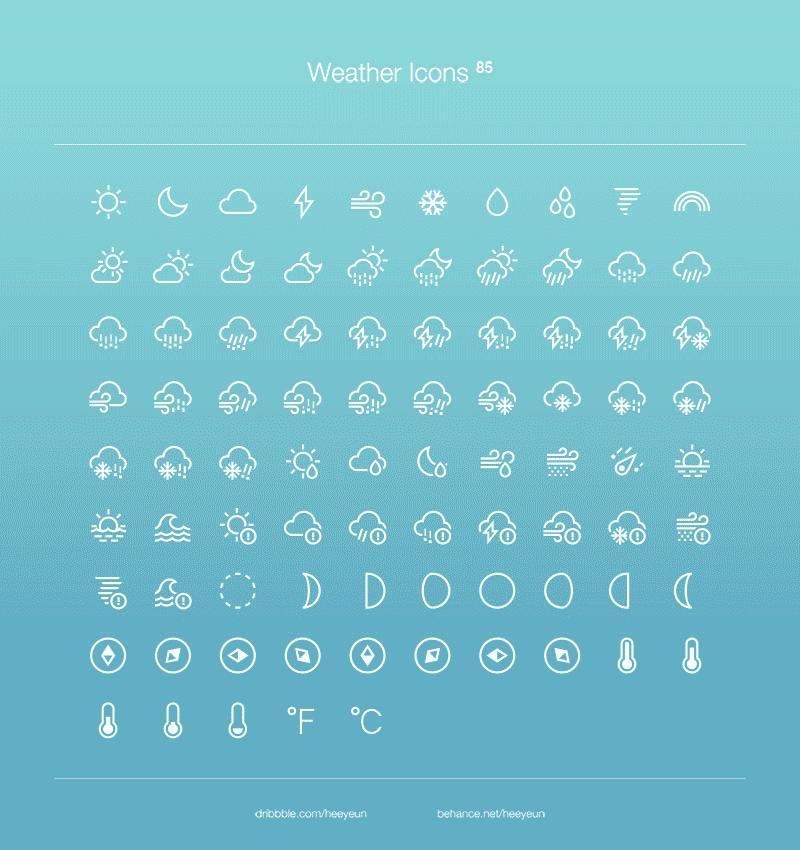 Погодные иконки в PSD от Heeyeun
