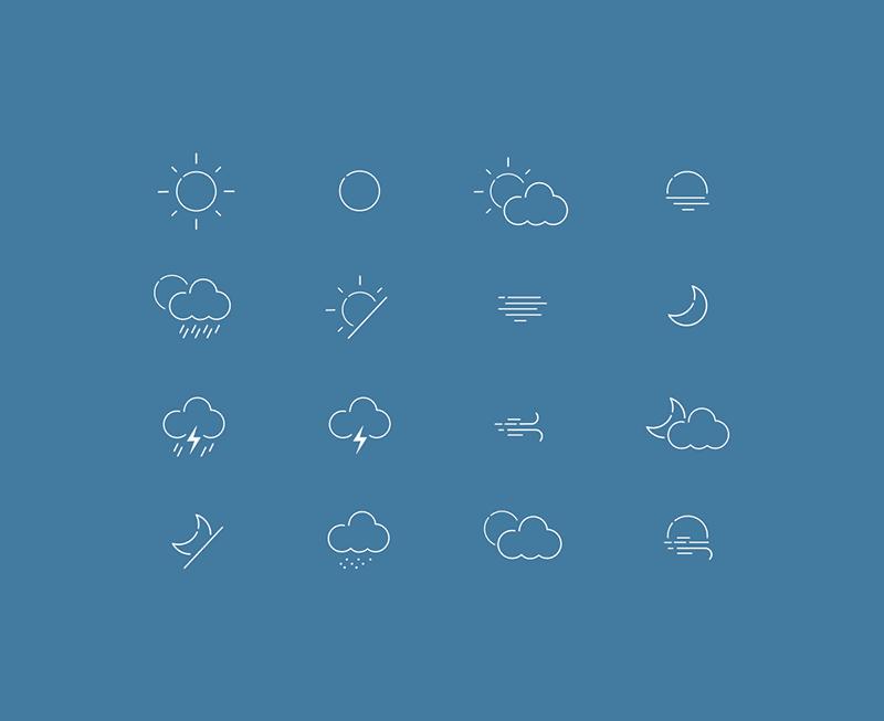 Набор погодных иконок в формате AI и SVG от Lukáš Oslzla