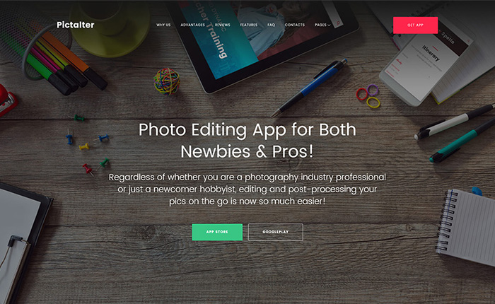 Photo Editing Application Landing Page WordPress Theme