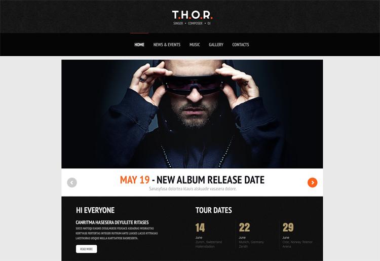 T.H.O.R. — Адаптивный WordPress шаблон для музыкальных исполнителей