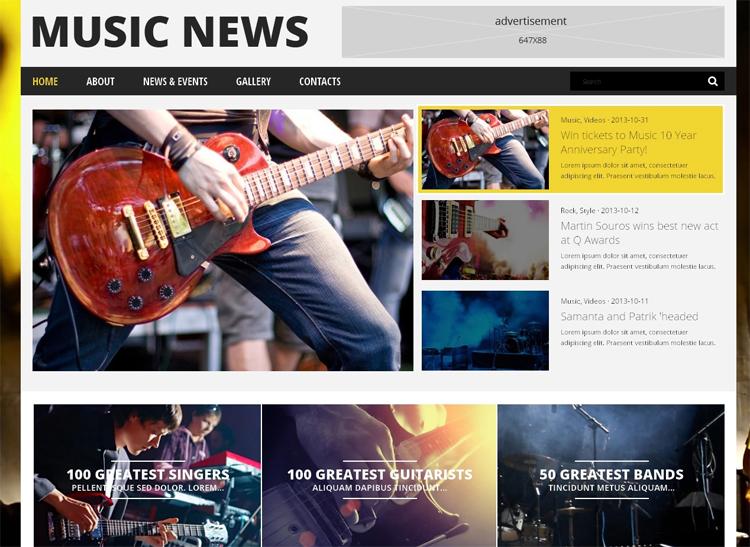Music News — Адаптивный WordPress шаблон на тему Музыкальный портал