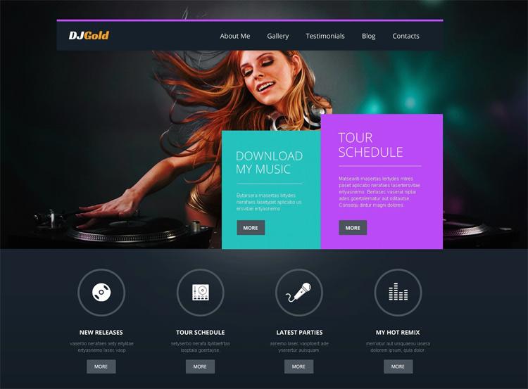 DJ Gold — Адаптивный WordPress шаблон для музыкальных исполнителей