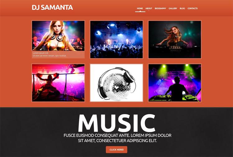 DJ Samanta — Адаптивный WordPress шаблон на тему DJ