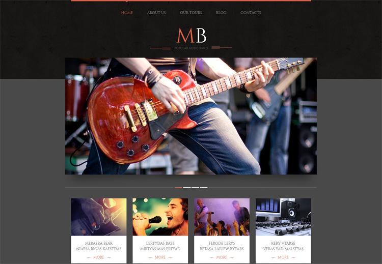 MB — Адаптивный WordPress шаблон на тему Музыкальная группа