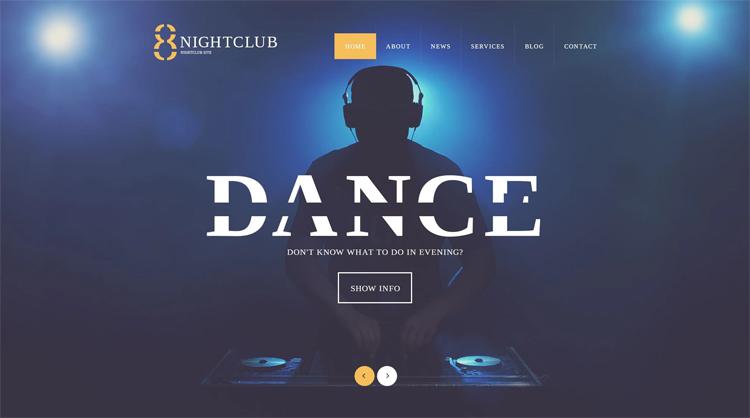 Dance — Адаптивный WordPress шаблон для сайта ночного клуба