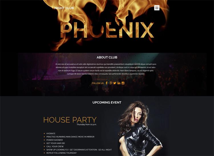 Phoenix — Адаптивный WordPress шаблон на тему Ночной клуб