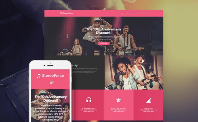 StereoForce — Адаптивный WordPress шаблон на тему Музыкальная группа