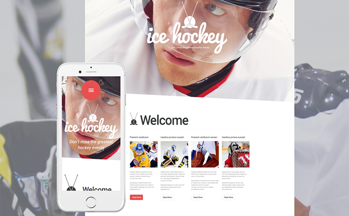 Адаптивный WordPress шаблон Ice Hockey
