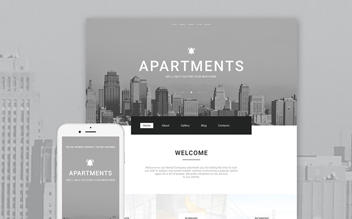 Адаптивный WordPress шаблон Apartments