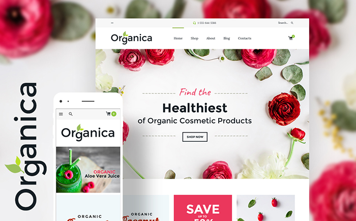 Адаптивный WooCommerce шаблон Organica