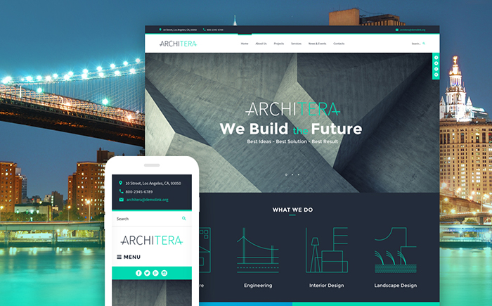 Адаптивный WordPress шаблон Architera