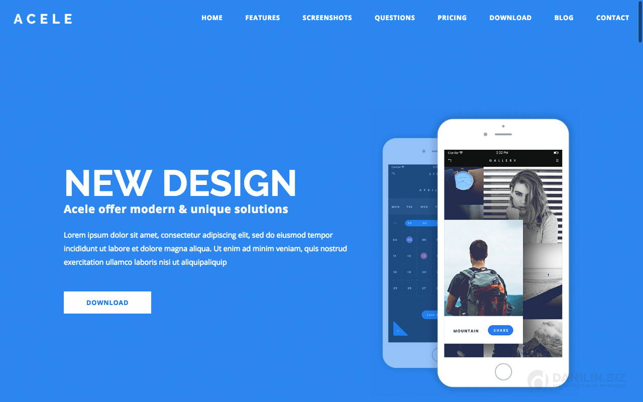 Acele — Multi Purpose App Showcase - Landing Page WordPress Theme