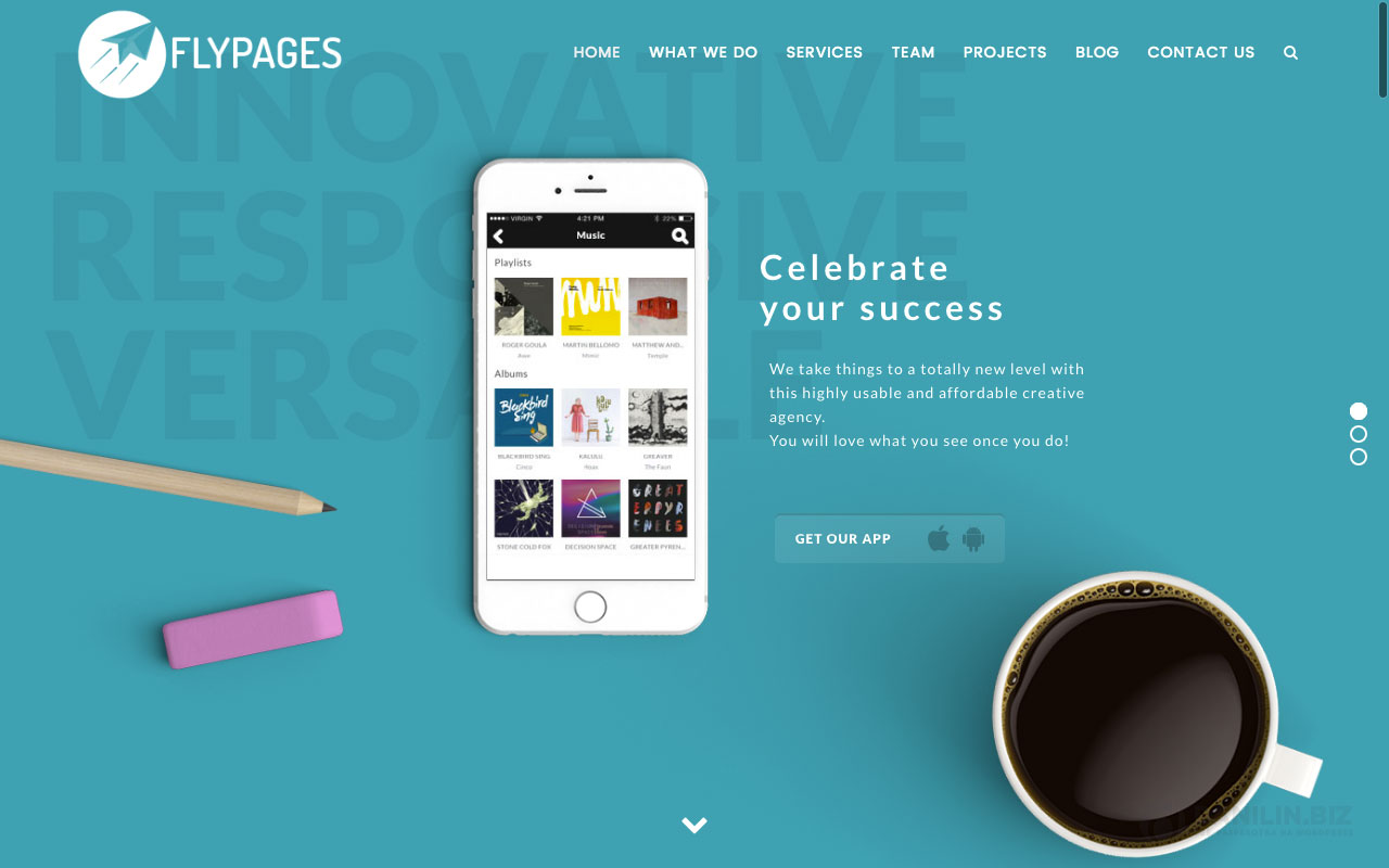 FlyPages — WordPress One Page Responsive Template with Builder