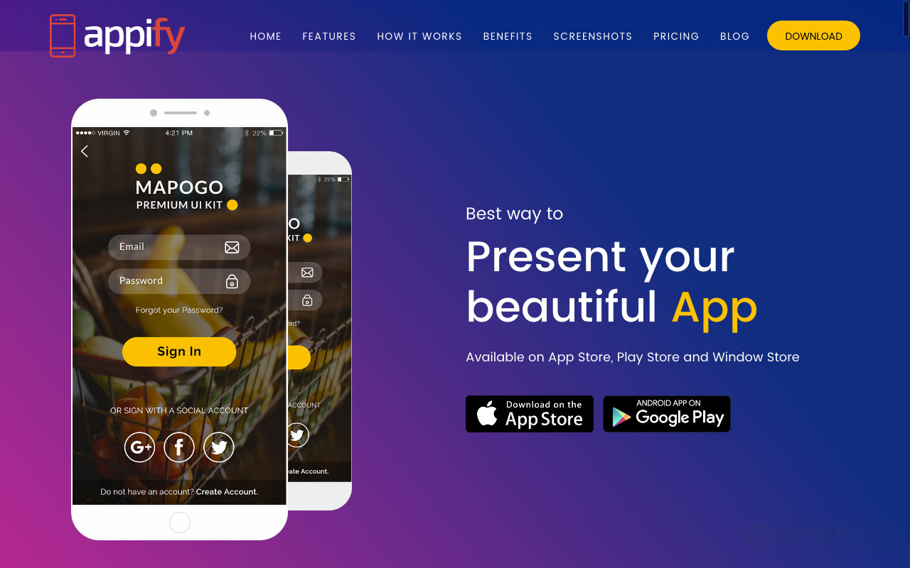Appify — Multipurpose One Page Mobile App landing page WordPress Theme