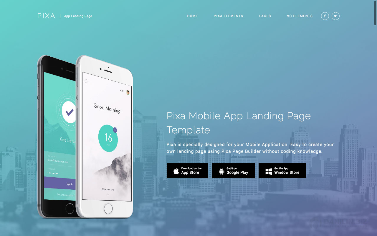 Pixa — App Landing WordPress Theme with Page Builder