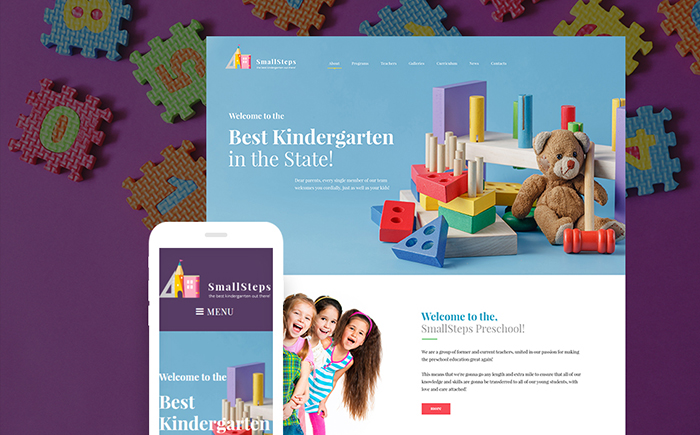 SmallSteps — Kindergarten Responsive WordPress Theme