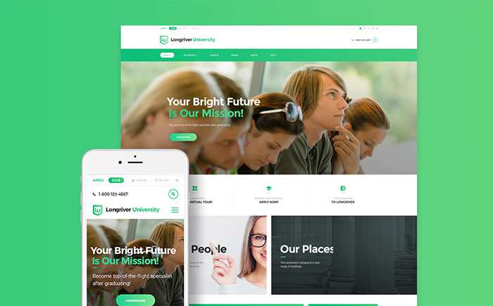 Longriver University Responsive WordPress Theme