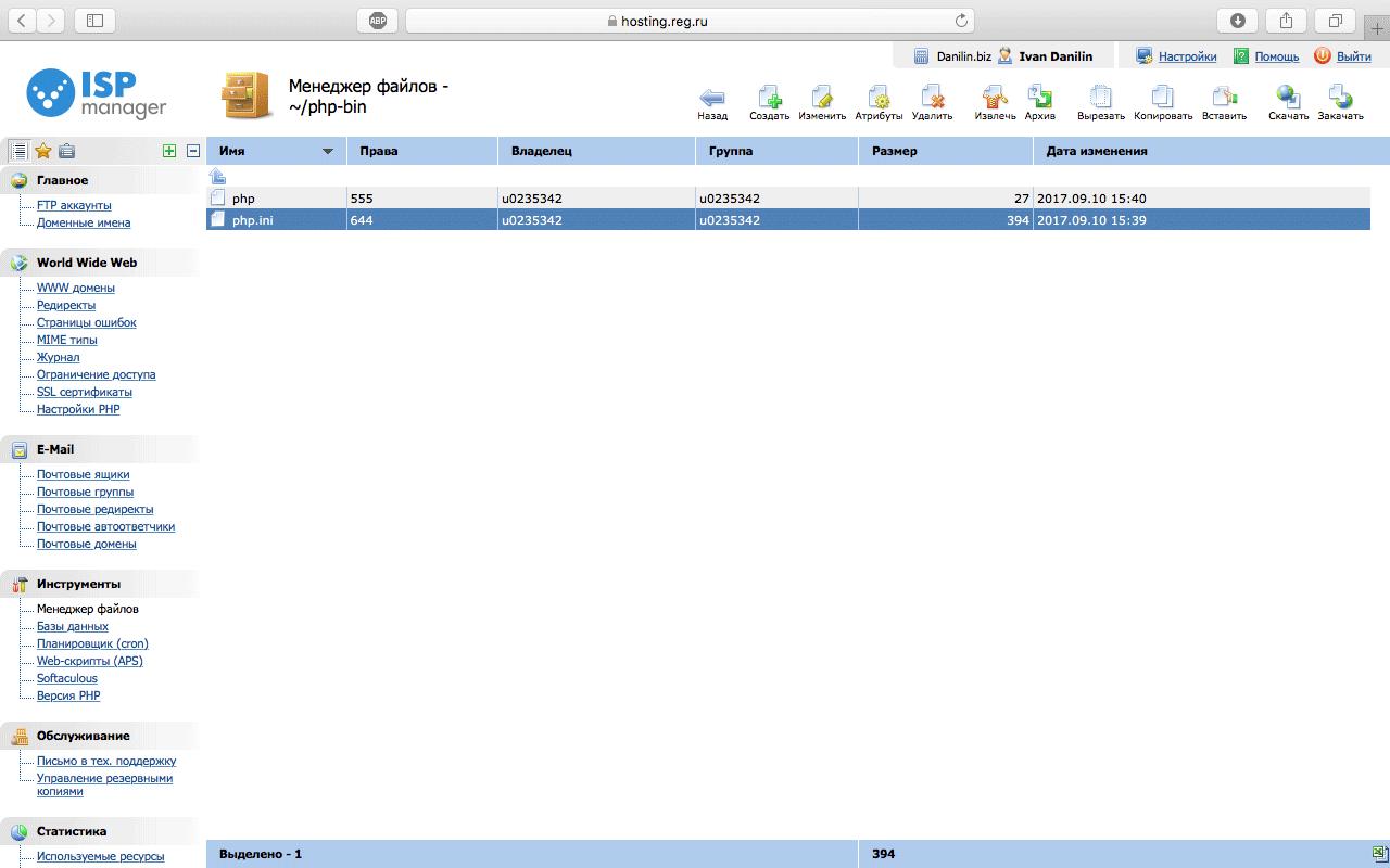 Подключаемся к серверу по FTP или открываем файловый менеджер в панели управления хостингом и идем в директорию php-bin.