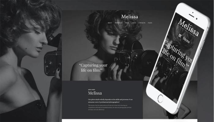 Melissa — адаптивная WordPress тема для сайта фотостудии/фотографа