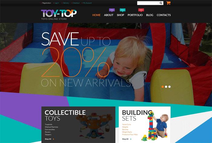 Бесплатный WooCommerce шаблон для магазина игрушек