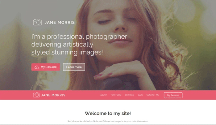 Jane Morris — бесплатный WordPress шаблон на тему «Портфолио»