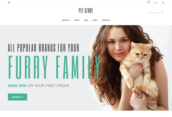 PetStore — бесплатный адаптивный WooCommerce шаблон для зоомагазина