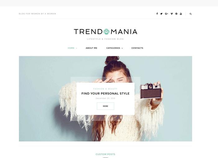 WordPress шаблон Trendomania для блога о моде